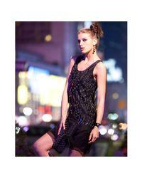 Vera Wang Lavender - Black Sequin Organza Slip Dress - Lyst