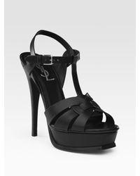 Saint Laurent | Black Tribute Platform Sandals | Lyst