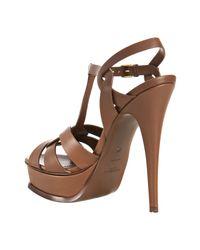 Saint Laurent - Brown Gianduia Leather Tribute 105 Platform Sandals - Lyst