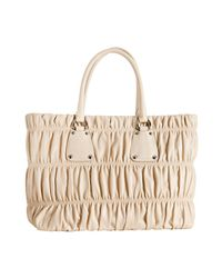Prada - Natural Ivory Lambskin Gaufre Shirred Tote Bag - Lyst