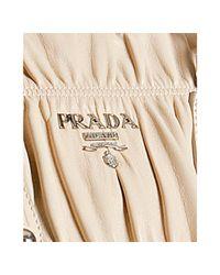 Prada | Natural Ivory Lambskin Gaufre Shirred Tote Bag | Lyst