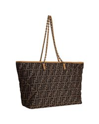 Fendi | Brown Tobacco Zucca Canvas Quilted Roll Chain Link Tote | Lyst