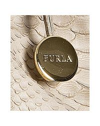 Furla | Natural Beige Croc Embossed Leather Carmen Tote | Lyst