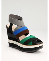 Prada | Multicolor Stripe Wedge Sandals with Elastic Straps | Lyst