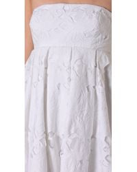 Tibi | White Floral Embroidery Strapless Dress | Lyst