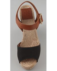 Tory Burch | Black Wooden Wedge Espadrilles | Lyst
