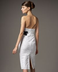 Redux Charles Chang-lima - White One-shoulder Two-tone Lace Dress - Lyst
