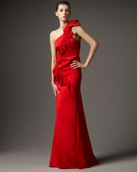 Redux Charles Chang-lima | Red One-shoulder Chiffon Ruffle Gown | Lyst