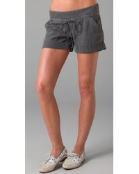 Splendid - Gray Double Gauze Shorts - Lyst