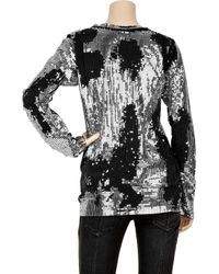Balmain | Metallic Distressed Sequin-embellished Cotton Top | Lyst