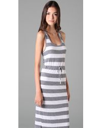 C&C California | Blue Triblend Bold Stripe Maxi Tank Dress | Lyst