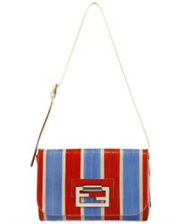 Fendi - Blue Striped Eel Clutch - Lyst