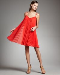 Halston | Orange Tie-strap Pleated Dress | Lyst