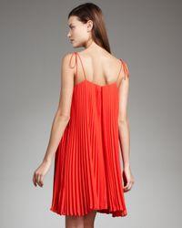 Halston - Orange Tie-strap Pleated Dress - Lyst