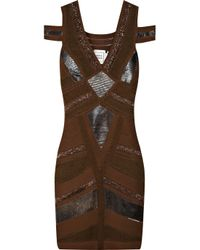 Hervé Léger | Brown Leatherinsert Bandage Dress | Lyst