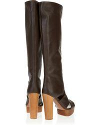 Marni - Dark Brown Leather Peep Toe Platform Boots - Lyst