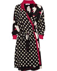 Boutique Moschino | Black Printed Silk Wrap Dress | Lyst