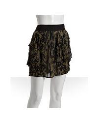 Nili Lotan - Green Camouflage Silk Ruffle Skirt - Lyst