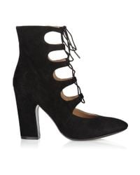 Sigerson Morrison - Black Lace-up Suede Ankle Boots - Lyst