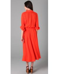 Tory Burch | Red Flowy Long Shirtdress | Lyst