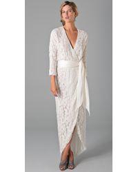 Halston | Natural Embellished Tulle Wrap Dress | Lyst