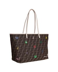 Fendi | Brown Tobacco Zucca Canvas Bug Print Roll Tote | Lyst
