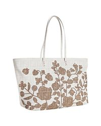 Fendi - White Zucca Spalmati Roll Floral Embroidered Tote - Lyst