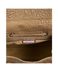 Jimmy Choo | Natural Beige Croc Embossed Leather Rosabel Structured Tote | Lyst