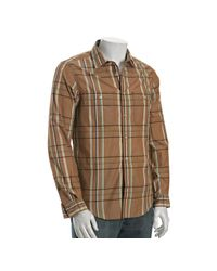 Trovata | Natural Tobacco Plaid Josef Button Front Shirt for Men | Lyst