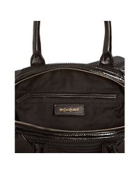 Saint Laurent - Black Woven Cotton and Patent Easy Bag - Lyst