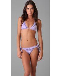 Shoshanna - Purple Ruffle Bikini Top - Lyst