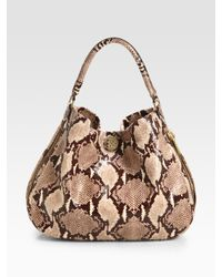 Tory Burch | Natural Kellan Python-print Leather Hobo | Lyst