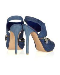 Alexander McQueen - Blue Zip-front Cutout Leather Sandals - Lyst