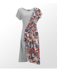 McQ | Gray Flag Print Sash Dress | Lyst