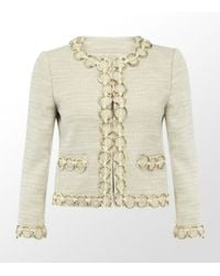Boutique Moschino | Natural Boucle Jacket with Chain Detail | Lyst