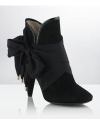 Mulberry | Black Floppy Bow Ankle Boots | Lyst