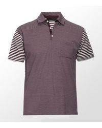 Nicole Farhi | Purple Contrast Stripe Polo Shirt for Men | Lyst