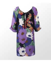 Tibi | Purple Floral Print Silk Dress | Lyst