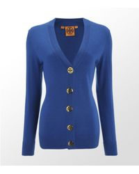 Tory Burch | Blue Simone Wool Cardigan | Lyst