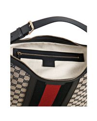 Gucci - Gray Beige and Navy Gg Canvas Logo Stripe Hobo Bag - Lyst