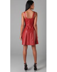 Adam Lippes - Red Leather Tank Dress - Lyst