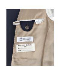 Brunello Cucinelli | Blue Navy Cashmere 3-button Elbow Patch Blazer for Men | Lyst