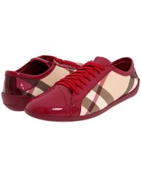 Burberry | Red Nova Check Low Top Sneaker | Lyst
