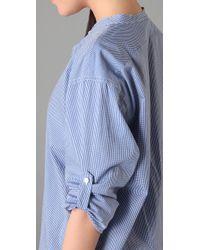 DKNY | Blue Pure Dkny Ruffle Check Tunic | Lyst
