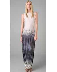 L.A.M.B. | Gray Long Dress with Side Slits | Lyst