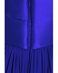 Notte by Marchesa | Blue Bow-embellished Strapless Silk-chiffon Gown | Lyst
