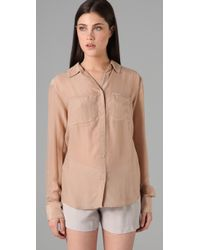 T By Alexander Wang | Pink Silk Chiffon Blouse with Pockets | Lyst