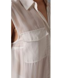 T By Alexander Wang - White Silk Chiffon Shirtdress with Pockets - Lyst