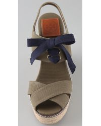 Tory Burch | Green Lace Up Wedge Espadrilles | Lyst