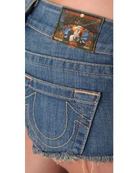 True Religion | Blue Faye Denim Shorts | Lyst